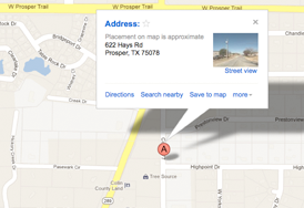 Map Location of High Point Self Storage, Prosper, TX